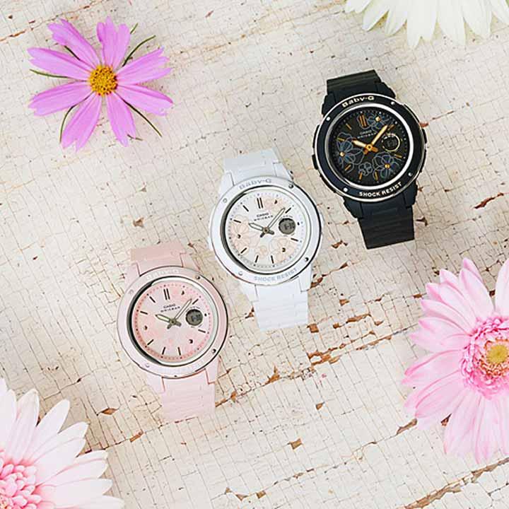 CASIO カシオ Baby-G ベビ−G Floral Dial Series BGA-150FL-1AJF レディース 腕時計 クオーツ アナログ デジタル 黒 ブラック 金 ゴールド 国内正規品 卒業祝い 入学祝い