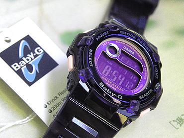 休闲的黑暗深蓝×紫尿烷皮带20气压防水/逆转液晶小孩G海外直接进口女士给CASIO卡西欧Baby-G Reef叶BG-3000A-2DR积极的女性的表手表
