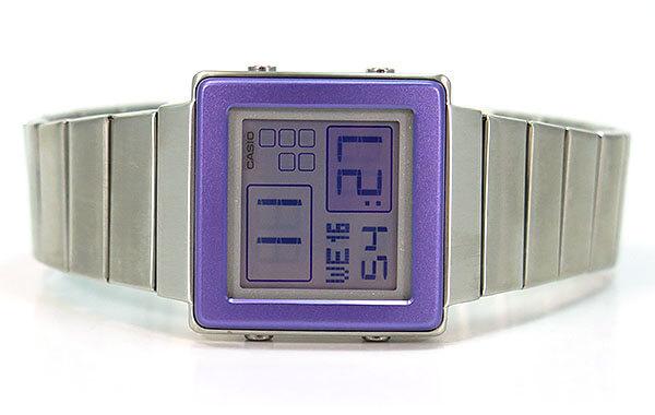 ★ BOX瑕疵CASIO chipukashiochipukashisutandadodejitaru FUTURIST fuyucharisuto LA-2000D-6A海外型号女士手表表紫色紫