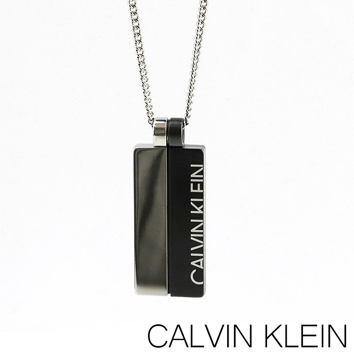 CALVIN KLEIN カルバンクライン ネックレス ペンダント プレート メンズ 銀 シルバー ダークグレー 誕生日プレゼント 男性 ギフト KJ5RBP210100 海外モデル