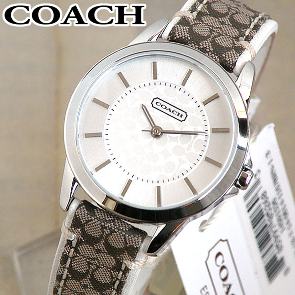 【送料無料】COACH コーチ Classic Signature クラシックシグネチャー 白 ホワイト系文字板 レディース腕時計 アナログ ブランド憧れ 大人かわいい レザーバンド 14501526 海外モデル誕生日プレゼント 女性 ギフト