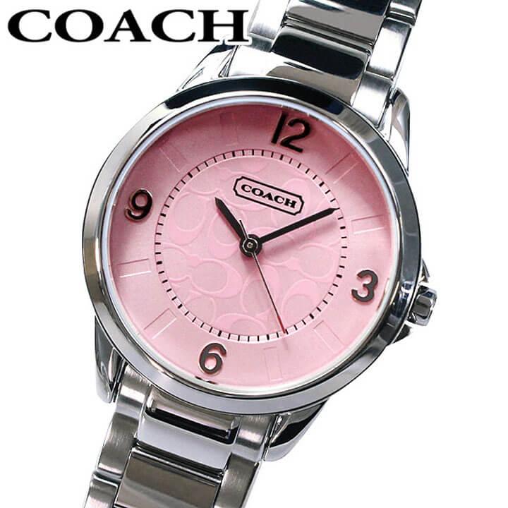 【送料無料】COACH コーチ 14501615 Classic Signature クラシックシグネチャー ピンク文字板 レディース 腕時計時計シルバー メタルバンド 海外モデル 誕生日プレゼント 女性 卒業祝い 入学祝い ギフト