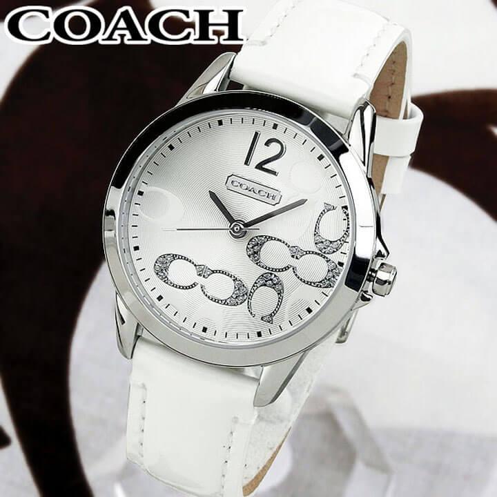【送料無料】COACH コーチ クラシック NEW CLASSIC SIGNATURE ニュークラシックシグネチャー レディース 腕時計 革ベルト アナログ 白 ホワイト シルバー 誕生日プレゼント 女性 卒業祝い 入学祝い ギフト 14501616 海外モデル
