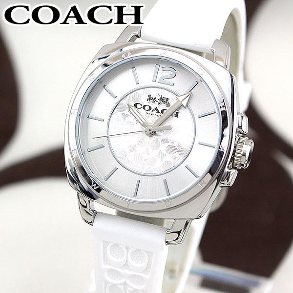 【送料無料】COACH コーチ ボーイフレンドミニ シグネチャー レディース 腕時計 シリコン ラバー クオーツ アナログ 白 ホワイト 銀 シルバー 海外モデル BOYFRIEND MINI 14502093 誕生日プレゼント 卒業祝い 入学祝い 女性 ギフト