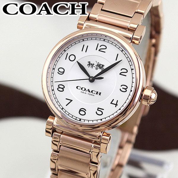 【送料無料】COACH コーチ MADISON マディソン 14502395 海外モデル レディース 腕時計 ウォッチ メタル バンド クオーツ アナログ 白 ホワイト 金 ピンクゴールド 誕生日プレゼント 女性 ギフト