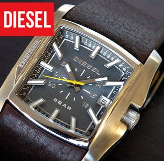 Diesel clock watch watch analog DIESEL DZ1317 tea leather band belt / men  blue system letter board foreign countries model birthday present man gift