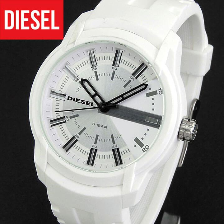 【送料無料】DIESEL ディーゼル ARMBAR アームバー メンズ 腕時計 シリコン ラバー クオーツ カジュアル アナログ 白 ホワイト 銀 シルバー 誕生日プレゼント 男性 卒業祝い 入学祝い ギフト DZ1829 海外モデル
