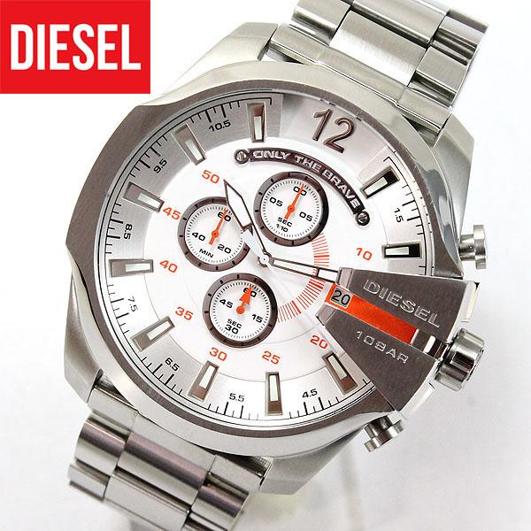【送料無料】DIESEL ディーゼル メガチーフ MEGA CHIEF ビックケース DZ4328 海外モデル メンズ 腕時計 時計 カジュアル ブランド アナログ シルバー 白 オレンジ クロノグラフ 誕生日プレゼント 男性 ギフト