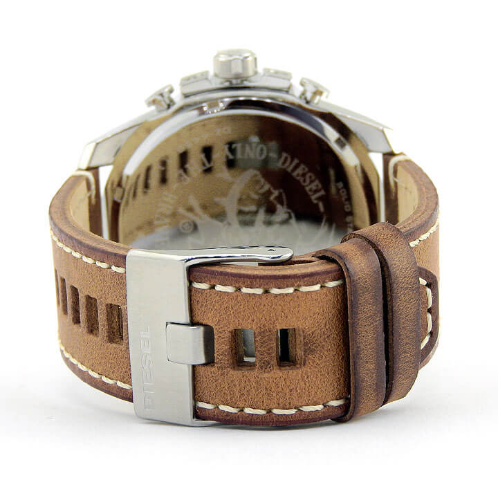 DIESEL ディーゼル MEGA CHIEF メガチーフ DZ4458 メンズ 腕時計 革ベルト レザー クロノグラフ クオーツ アナログ 青 ブルー オレンジ 茶 ブラウン 銀 シルバー 海外モデル 卒業祝い 入学祝い