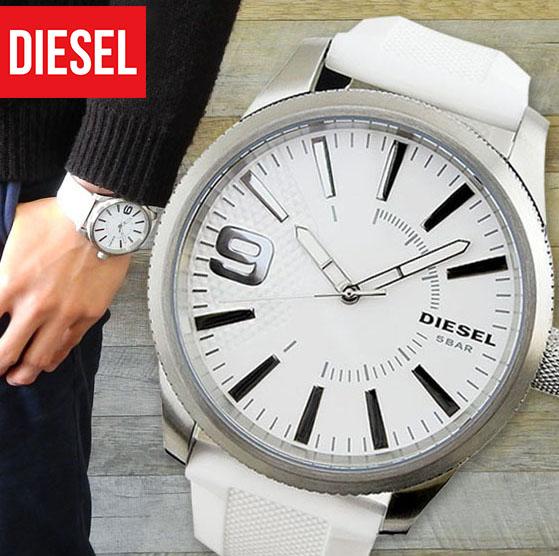 【文字板訳あり】【送料無料】DIESEL ディーゼル RASP ラスプ メンズ 腕時計 シリコン ラバー クオーツ アナログ 白 ホワイト シルバー DZ1805 海外モデル ブランド 誕生日プレゼント 男性 卒業祝い 入学祝い ギフト