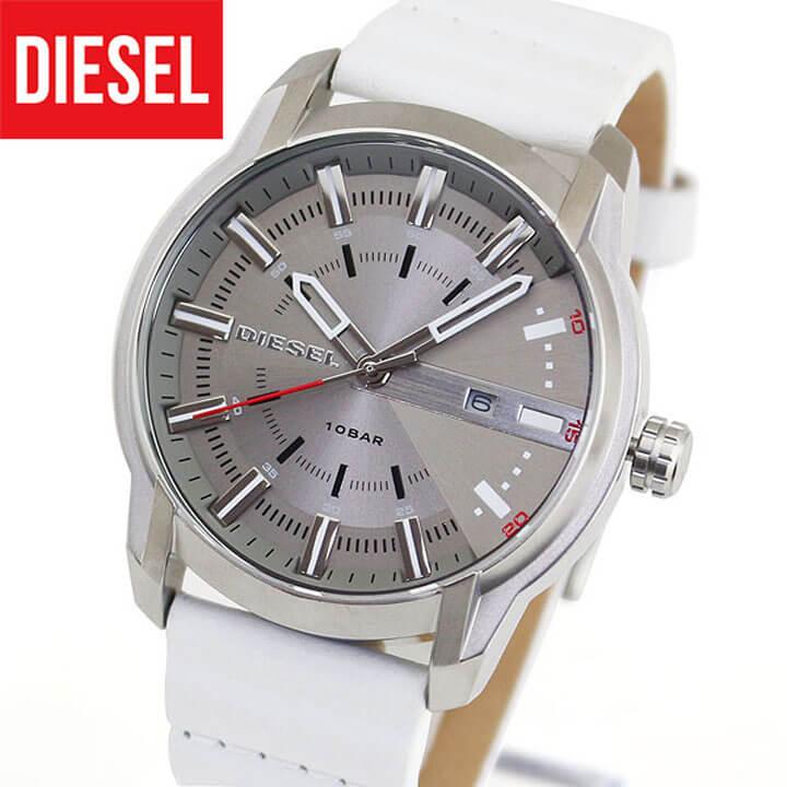 【送料無料】 DIESEL ディーゼル ARMBAR アームバー メンズ 腕時計 革ベルト レザー クオーツ カジュアル アナログ 白 ホワイト DZ1811 海外モデル 誕生日プレゼント 男性 ギフト