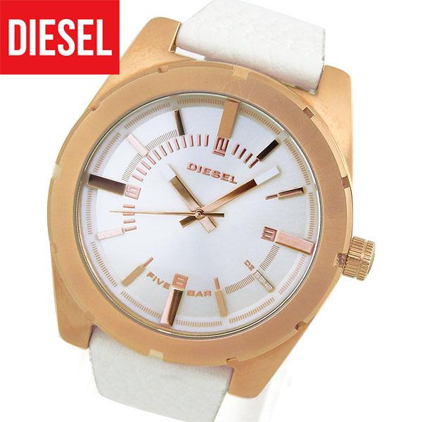 【送料無料】 DIESEL ディーゼル レディース 腕時計 革ベルト レザー クオーツ カジュアル アナログ 白 ホワイト ピンクゴールドローズゴールド 銀 シルバー DZ5342 海外モデル 誕生日プレゼント 女性 ギフト