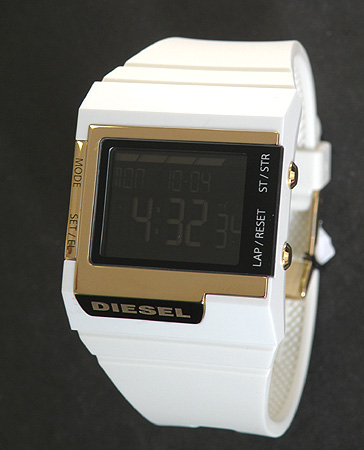 Diesel watch DIESEL diesel DZ7149 digital watch white   gold black inverted  LCD rubber belt   unisex abroad model 4a7beb194b