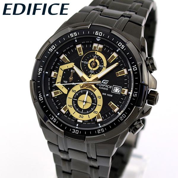 【送料無料】CASIO カシオ EDIFICE エディフィス EFR-539BK-1AV メンズ 腕時計 メタル クロノグラフ カレンダー クオーツ アナログ 黒 ブラック 金 ゴールド 海外モデル 誕生日プレゼント 男性 卒業祝い 入学祝い ギフト