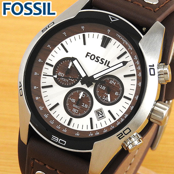 【送料無料】FOSSIL フォッシル CH2565 海外モデル メンズ 腕時計 ウォッチ 革ベルト レザー クオーツ アナログ 白 ホワイト 茶 ブラウン 誕生日プレゼント 男性 卒業祝い 入学祝い ギフト