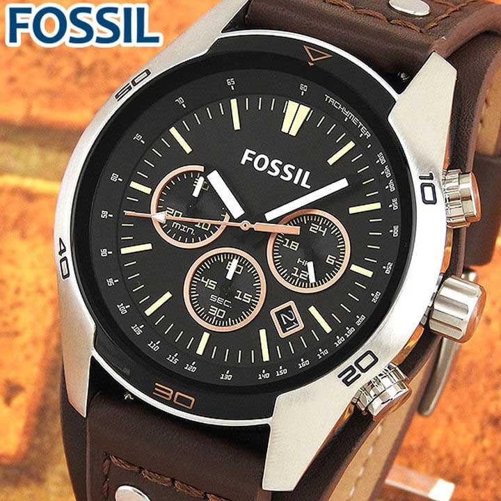 【送料無料】FOSSIL フォッシル CH2891 海外モデル メンズ 腕時計 ウォッチ 革ベルト レザー クオーツ アナログ 黒 ブラック 茶 ブラウン 誕生日プレゼント 男性 卒業祝い 入学祝い ギフト