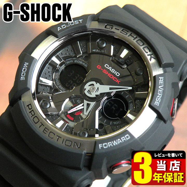 BOX訳あり CASIO カシオ G-SHOCK Gショック アナログ デジタル アナデジ ジーショック メンズ ブラック 黒 腕時計 GA-200-1A 海外モデルスポーツ ビックフェイス 商品到着後レビューを書いて3年保証 誕生日プレゼント 男性 ギフト