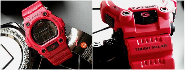 卡西欧 g 休克 GW-7900RD-4 红色 G 冲击男子在燃烧的红色浪潮图和月球数据功能太阳能收音机手表