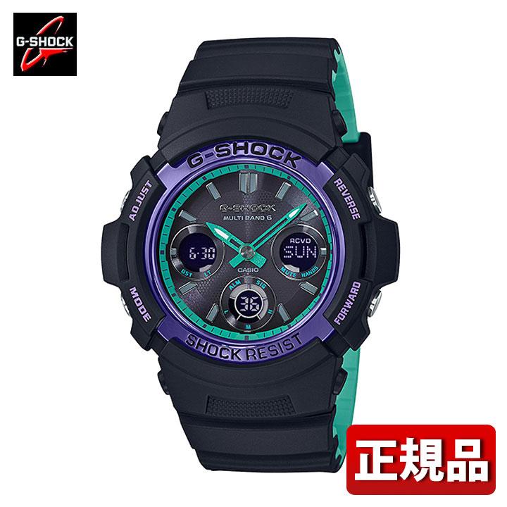 CASIO カシオ G-SHOCK Gショック ジーショック AWG-M100SBL-1AJF メンズ 腕時計 ウレタン 多機能 タフソーラー 電波 アナログ デジタル 黒 ブラック パープル 国内正規品