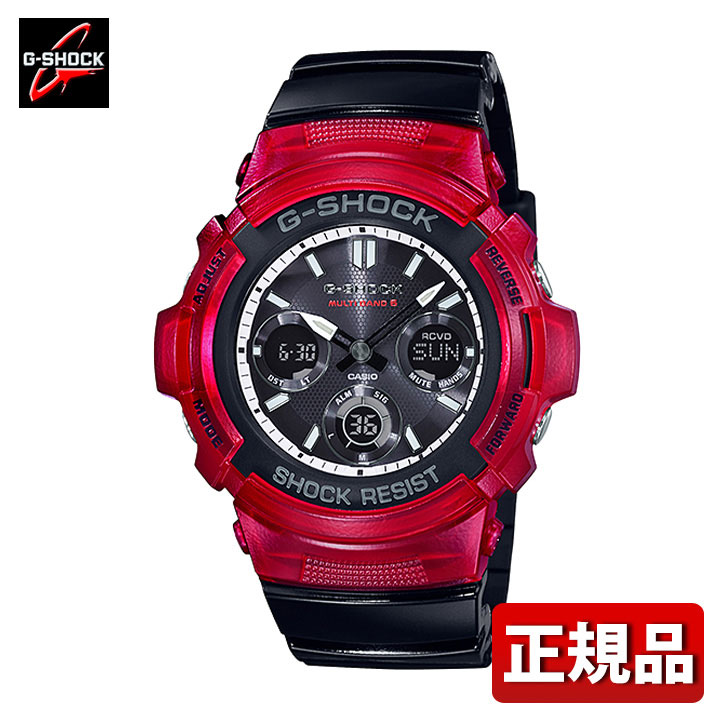 CASIO カシオ G-SHOCK Gショック ジーショック AWG-M100SRB-4AJF メンズ 腕時計 ウレタン タフソーラー 電波 アナログ デジタル 黒 ブラック 白 ホワイト 赤 レッド 国内正規品