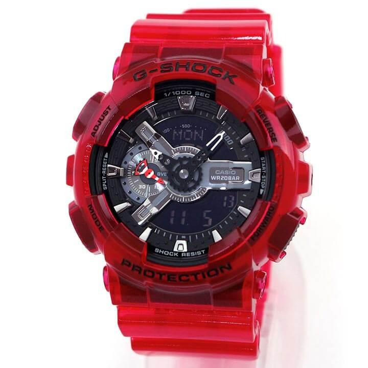 【BOX訳あり】CASIO カシオ G-SHOCK Gショック ジーショック GA-110CR-4A メンズ 腕時計 ウレタン クオーツ アナログ デジタル 黒 ブラック 赤 レッド 並行輸入品 誕生日プレゼント 男性 父の日 ギフト