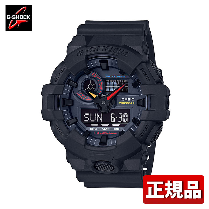 CASIO カシオ G-SHOCK Gショック ジーショック Black × Neon GA-700BMC-1AJF メンズ 腕時計 防水 ウレタン クオーツ 黒 ブラック 国内正規品 彼氏 旦那 夫