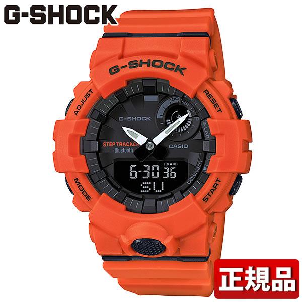 CASIO カシオ G-SHOCK Gショック ジーショック G-SQUAD ジー・スクワッド GBA-800-4AJF メンズ 腕時計 ウレタン 多機能 クオーツ アナログ デジタル 黒 ブラック オレンジ スマートフォンリンク 国内正規品
