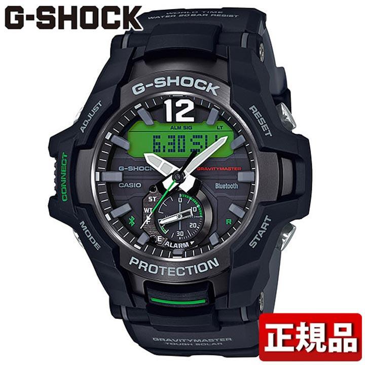 【送料無料】CASIO カシオ G-SHOCK Gショック ジーショック MASTER OF G GRAVITYMASTER グラビティマスター GR-B100-1A3JF メンズ 腕時計 ウレタン 多機能 タフソーラー アナログ デジタル 黒 ブラック 緑 グリーン 国内正規品