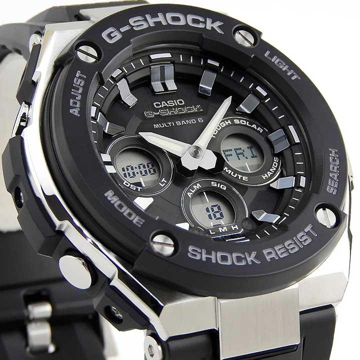 CASIO カシオ G-SHOCK Gショック ジーショック G-STEEL  GST-W300-1A 海外モデル メンズ 腕時計 ウレタン バンド 多機能 ソーラー電波 タフソーラー アナログ 黒 ブラック シルバー 誕生日プレゼント 男性 ギフト