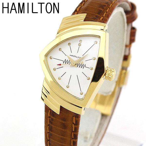 【送料無料】HAMILTON ハミルトン Ventura ベンチュラ H24101511 クラシック クオーツ 海外モデル レディース 腕時計 革ベルト レザー クオーツ アナログ 白 ホワイト 茶 ブラウン 金 ゴールド 誕生日プレゼント 女性 ギフト