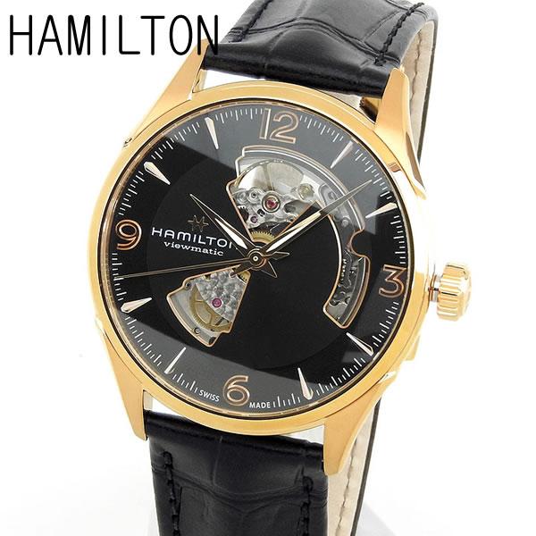 【送料無料】 HAMILTON ハミルトン JAZZMASTER OPEN HEART ジャズマスター オープンハート メンズ 腕時計 革ベルト レザー 機械式 メカニカル 自動巻き アナログ 黒 ブラック 金 ゴールド 誕生日プレゼント 男性 ギフト H32735731 海外モデル