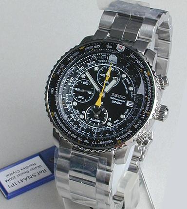 【先着!250円OFFクーポン】SEIKO セイコー 逆輸入 日本未発売 航空計算尺つき SNA411P1 黒 ブラック 日本未発売 メンズ 腕時計 時計 海外モデル誕生日プレゼント 男性 ギフト
