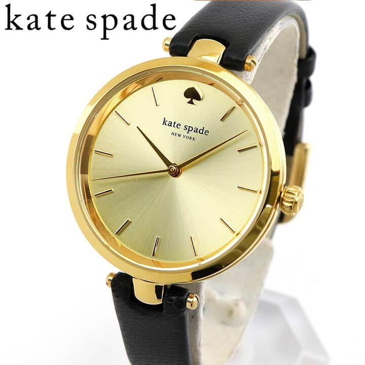KateSpade ケイトスペード ケートスペード NEW YORK HOLLAND ホランド 1YRU0811 レディース 腕時計 シンプル かっこいい 仕事用 革バンド レザー ブラック 黒 ゴールド カジュアル アナログ 海外モデル 誕生日 女性 ギフト プレゼント