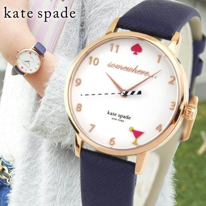 【送料無料】KateSpade ケイトスペード ケートスペード 時計 おしゃれ ブランド かわいい KSW1040 海外モデル レディース 腕時計 ウォッチ 革ベルト レザー クオーツ アナログ 白 ホワイト 青 ネイビー 誕生日プレゼント 女性 ギフト
