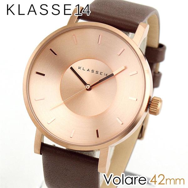 スーパーセール 【送料無料】Klasse14 クラス14 KLASSE14 Volare VO14RG002M 海外モデル メンズ レディース 腕時計 革ベルト レザー クオーツ アナログ 茶 ブラウン 金 ピンクゴールド 42mm 誕生日プレゼント 男性 女性 ギフト