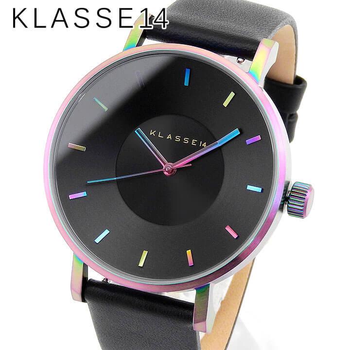 スーパーセール 【送料無料】 Klasse14 クラスフォーティーン Volare ヴォラーレ VO15TI001M メンズ レディース 腕時計 レザー クオーツ アナログ 黒 ブラック レインボー 42mm 海外モデル