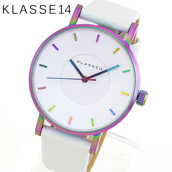 スーパーセール 【送料無料】 Klasse14 クラスフォーティーン Volare ヴォラーレ VO16TI003W レディース 腕時計 革ベルト レザー クオーツ アナログ 白 ホワイト レインボー 36mm 海外モデル 誕生日プレゼント 女性 ギフト