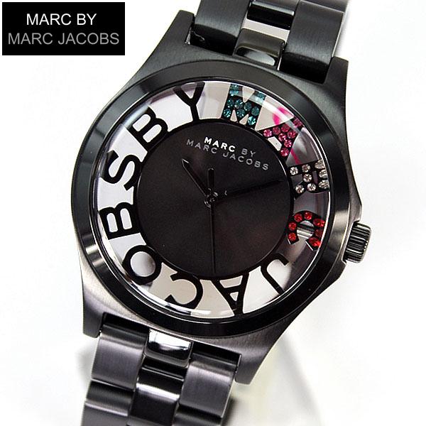 【送料無料】マーク バイ マーク ジェイコブス MARC BY MARC JACOBS Henry Skelton ヘンリー スケルトン クリスタル MBM3265 海外モデル レディース 腕時計 時計 IPブラック 黒 メタル マルチカラー 誕生日プレゼント ギフト
