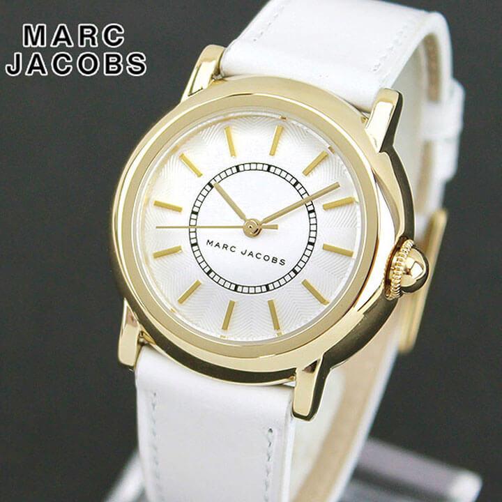 【先着!250円OFFクーポン】MARC JACOBS マークジェイコブス COURTNEY コートニー MJ1449 海外モデル レディース 腕時計 ウォッチ 革ベルト レザー アナログ 白 ホワイト 金 ゴールド