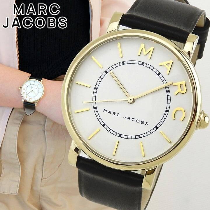 【送料無料】MARC JACOBS マーク ジェイコブス ロキシー レディース 腕時計 革バンド レザー 黒 ブラック 白 ホワイト クオーツ アナログ MJ1532 海外モデル 誕生日プレゼント 女性 ギフト