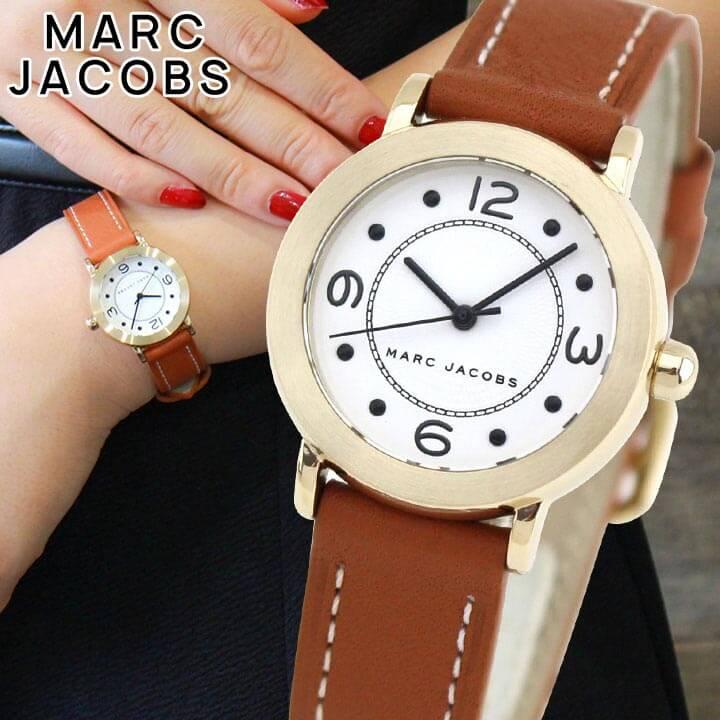 【送料無料】MARC JACOBS マーク ジェイコブス RILEY ライリー MJ1576 レディース 腕時計 革ベルト レザー クオーツ アナログ 白 ホワイト 茶 ブラウン 海外モデル 誕生日プレゼント 女性 ギフト