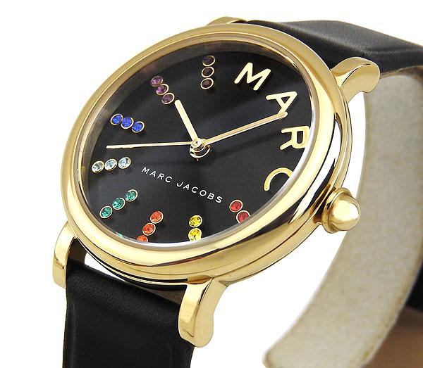 【】MARC JACOBS マーク ジェイコブス Classic クラシック レディース 腕時計 革バンド レザー 黒 ブラック 金 ゴールド マルチカラー カジュアル アナログ MJ1592 海外モデル 誕生日プレゼント 女性 ギフト