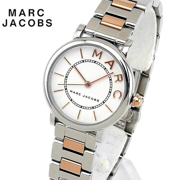 【送料無料】 Marc Jacobs マーク ジェイコブス ROXY ロキシー 28mm レディース 腕時計 メタル クオーツ アナログ 白 ホワイト ピンクゴールド ローズゴールド 銀 シルバー 誕生日プレゼント 女性 ギフト MJ3553 海外モデル