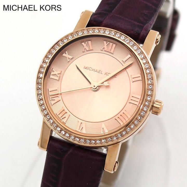 MICHAEL KORS マイケルコース PETITE NORIE プチノリー MK2608 レディース 腕時計 革ベルト レザー クオーツ ピンクゴールド ローズゴールド ワインレッド 海外モデル 誕生日プレゼント 女性 クリスマス ギフト