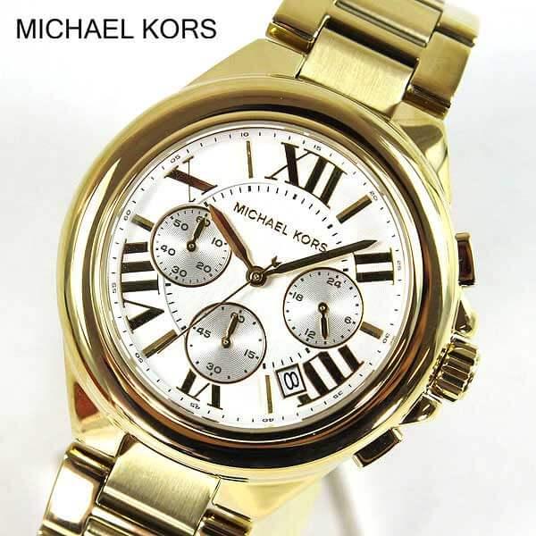【送料無料】MICHAEL KORS マイケルコース MK5635 CAMILLE GOLD カミーユ ゴールド ホワイト 白 男女兼用 ユニセックス レディース 腕時計 時計ブランド大きめ クロノグラフ 誕生日プレゼント 女性 クリスマス ギフト