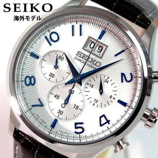 【送料無料】SEIKO セイコー クロノグラフ SPC155P1 海外モデル メンズ 腕時計時計クオーツ ブラック×ホワイト 逆輸入 誕生日プレゼント 男性 卒業祝い 入学祝い ギフト