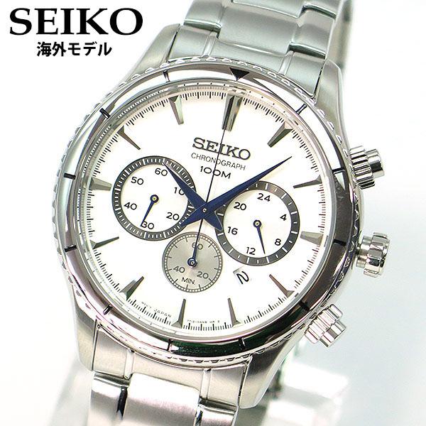 【先着!250円OFFクーポン】SEIKO セイコー SRW033P1 クロノグラフ 日付 カレンダー メンズ 腕時計 時計クオーツ アナログ シルバー ホワイト 白 逆輸入 誕生日プレゼント 男性 ギフト