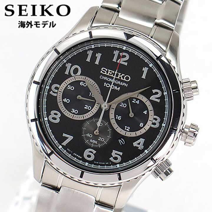 【送料無料】SEIKO セイコー クロノグラフ SRW037P1 メンズ 腕時計 時計海外モデル 並行輸入品 ブラック 黒 シルバー 逆輸入 誕生日プレゼント 男性 卒業祝い 入学祝い ギフト