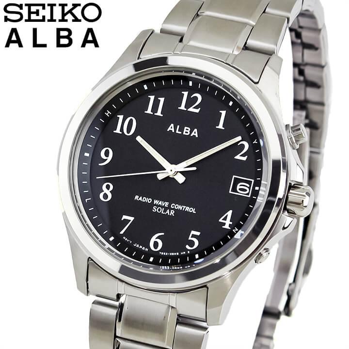 SEIKO セイコー ALBA アルバ AEFY501 国内正規品 メンズ 腕時計 ウォッチ メタル バンド 電波ソーラー アナログ 黒 ブラック 銀 シルバー 商品到着後レビューを書いて7年保証 誕生日プレゼント 男性 ギフト