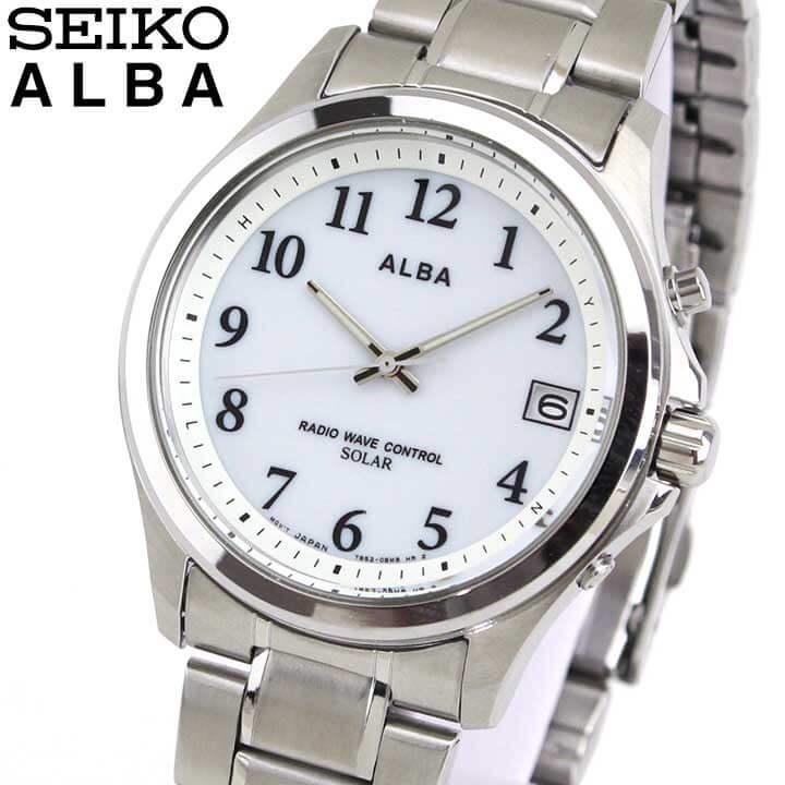 SEIKO セイコー ALBA アルバ AEFY503 国内正規品 メンズ 腕時計 ウォッチ メタル バンド 電波ソーラー アナログ 白 ホワイト 銀 シルバー 商品到着後レビューを書いて7年保証 誕生日プレゼント 男性 ギフト